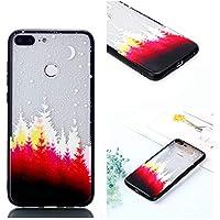 BONROY Muster geprägt Lack Gemalt TPU Zwei-in-One bruchsicher Handy Shell für Huawei Honor 9 Lite Transparent-(Lack Zwei in Einem roten Wald)