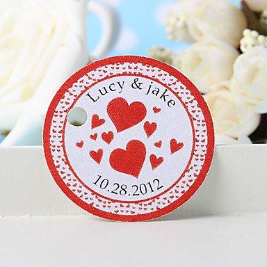Comfot Personalisierte Gunst Tag Etiketten-Rot Herz (36) Hochzeit Gefälligkeiten