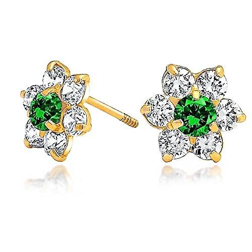 Kleine Grüne CZ Blume Ohrstecker Für Damen Für Jugendlich Zirkonia Simulierten Emerald 14K Gold Screwback - Screwback Diamant-ohrringe Für