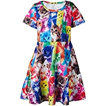 Funnycokid Girls Bambini Summer Sleeveless Abito vintage Princess Floral Dress 3-13 Anni