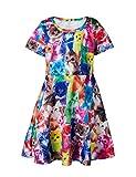 Funnycokid Mädchen Sommer Kleider Kurzarm Drucken Sommerkleid für Baby Mädchen 4-5 Jahre