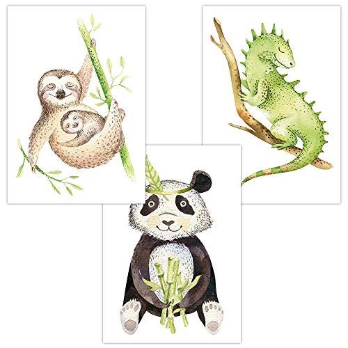 Wandbilder 3er Set für Baby & Kinderzimmer Deko Poster Faultier Panda Chamäleon   Kunstdruck DIN A4 ohne Rahmen und Dekoration (Tropical