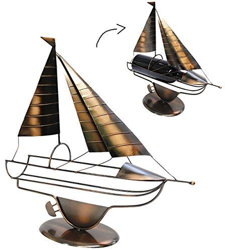 Unbekannt XL Flaschenhalter / Flaschenständer -  Segelboot / Segler - Schiff  - aus Metall - ideal...