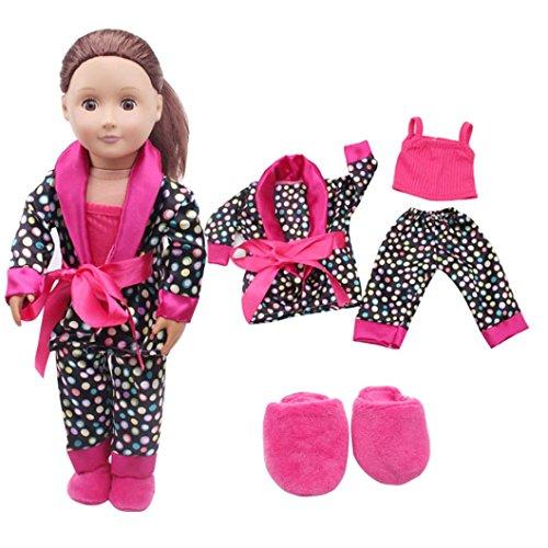 Pyjama Fille PoupéE OHQ Combinaison En Pyjama AméRicain De 18 Pouces 5Pcs VêTements Chaussures Pour 18Inch American Girl Notre GéNéRation Pyjamas Dolls Set (Rose vif)