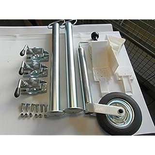 AVB Abstellpaket Stützrad, Stützen 700 mm & Halter & Schrauben Keile Weiss