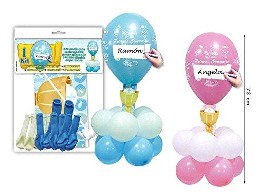 Lote de 6 Kits Centro de Globos Comunión Personalizables Colores. Juguetes y Regalos Baratos para Fiestas de Cumpleaños, Bodas, Bautizos, Comuniones y Eventos. (Rosa)