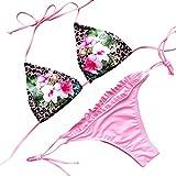 7877056b396a Jimmackey Donna Sexy Bikini Mare Stampato Push-Up Imbottito Increspatura Costume  Da Bagno (Rosa