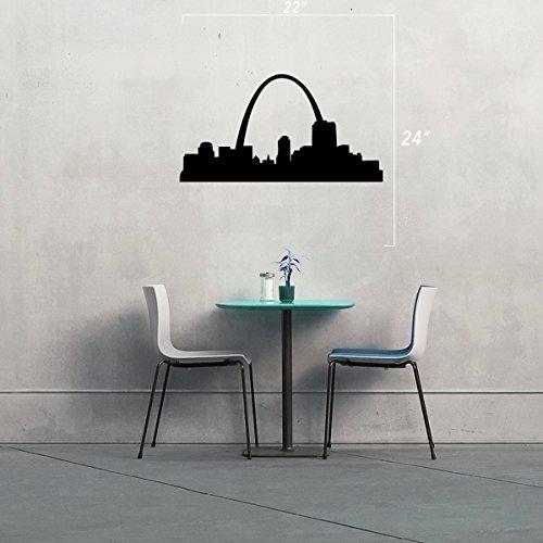 StickAny Wand Serie St. Louis Skyline Arch Aufkleber für Fenster, Zimmer, und Mehr. (Standard) Schwarz