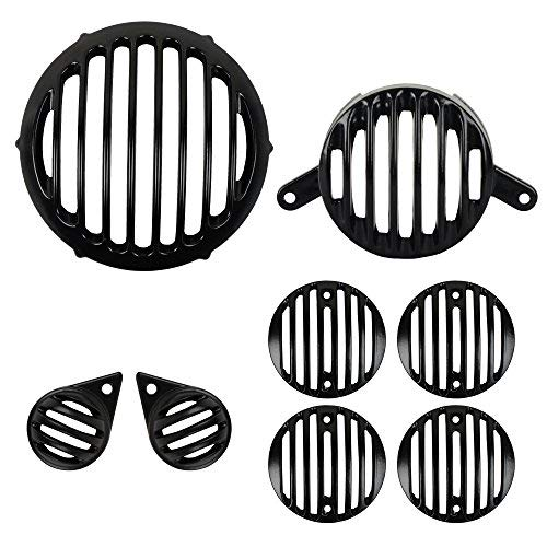 Autofy Metal Protector Guard Grill for Royal Bullet Classic 350 (Matte Black, Set of 8)