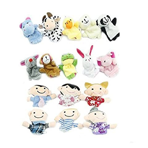 SODIAL(R) 16pc History Finger Puppets 10 Animals 6 People Family Members Educational Toys