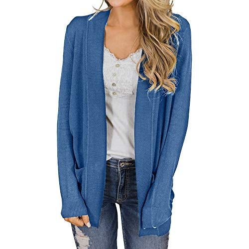 IMJONO Frauen Herbst-Tops Bluse Loose Long Cardigan Coat Jacket Outwear (X-Large,Blau)
