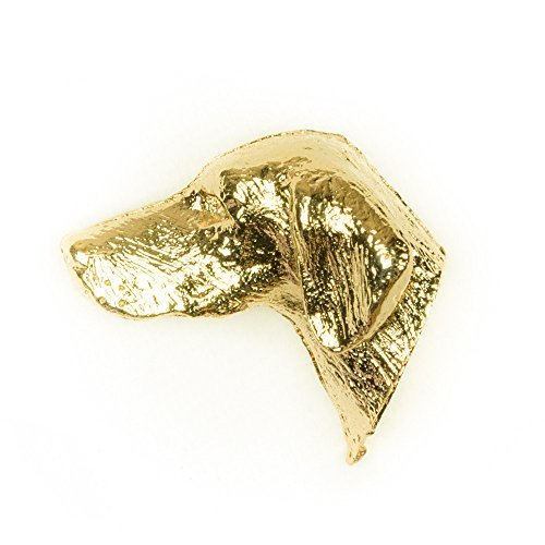 HUNGARIAN VIZSLA Made in U.K Artistic Style Dog Clutch Lapel Pin Collection 22ct Gold Plated by DOG ARTS JP -