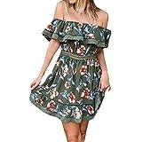 TPulling Damen Rüschen Abendkleid ❤ Frau Mode Minikleid Sommer Rüschen Schulterfreies Schmetterling Drapiertes Druck Strand Kleid Bodycon Beiläufige Abend Partykleid (Armeegrün, S)