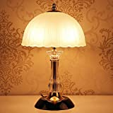 WXBW Lampada da tavolo-Camera da letto lampada moderna minimalista moda creativa personalità decorazione lampada oscuramento lampada rurale luce studio,2 lampadine da 25 watt di colore giallo
