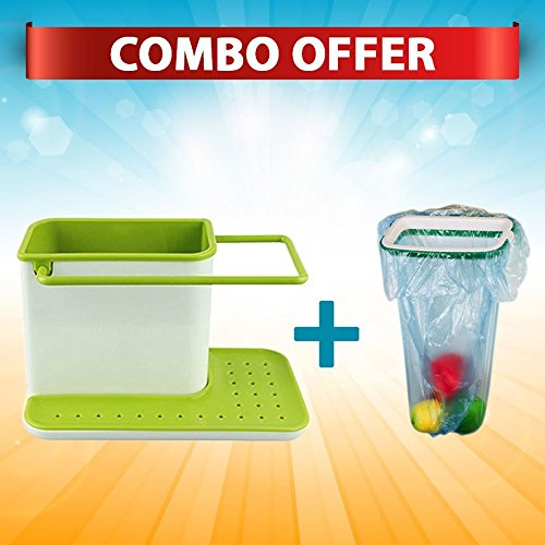 Kitchen Sink Tidy Self Draining Sink Caddy with Base Stand Organizer Brush Sponge Cleaning Cloth Holder Drain Dishwasher Liquid Rack Storage Bag Baskets Tool & Trash Bag Holder for Kitchen Cabinet Garbage Bags Hanging Rack Kitchen Cupboard Green and White (Colour as Available)  available at amazon for Rs.399
