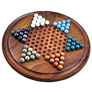 Royaltyroute Handcrafted Wooden Chinese Checkers Board Game With Colorful Marbles