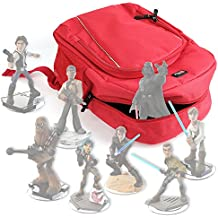 DURAGADGET Mochila Roja Para Guardar / Organizar Las Figuritas Disney Infinity 3.0 - Star Wars + Funda Impermeable - Con Asas Regulables