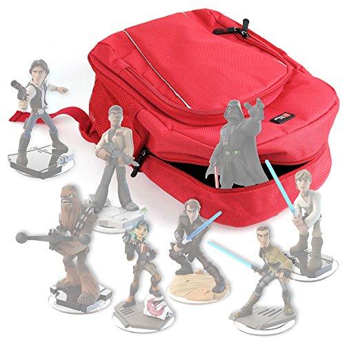 DURAGADGET Mochila Roja Para Guardar / Organizar Las Figuritas Disney Infinity 3.0 - Star Wars + Funda Impermeable - Con Asas