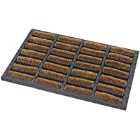 JVL Heavy Duty Nimbus Rubber Natural Coir Tuffscrape Door Mat, Rattan, Beige, 45 x 75 cm
