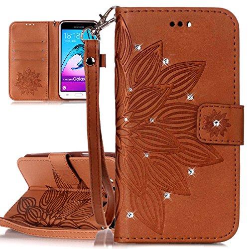 Custodia Galaxy J3 ISAKEN Cover Samsung Galaxy J3 con Strap, Elegante borsa Dente di leone Design in Pelle Sintetica Ecopelle PU Case Cover Protettiva Flip Portafoglio Case Cover Protezione Caso con S fiori:marrone