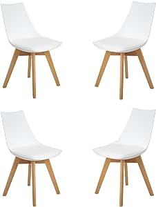 HJ WeDoo 4er Set Retro Design Stuhl Esszimmerstühle Wohnzimmerstühl mit Bequem Gepolstertem Sitz, Weiß