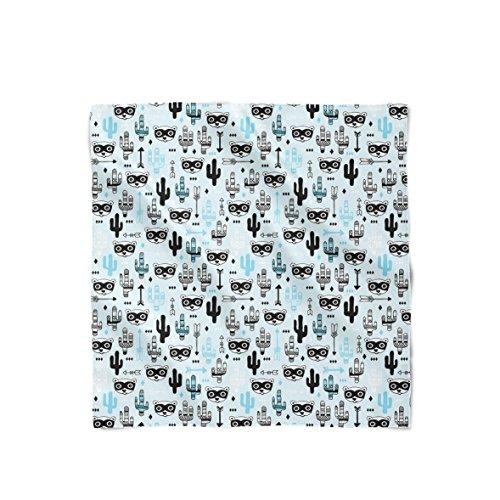 Raccoon Bandit Wild West Blue - Bandana (22x22) - Satin Style Scarf Schal (Bandana Blue West)
