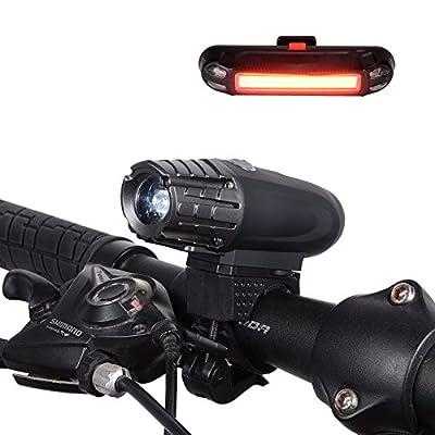 USB Wiederaufladbare LED Fahrradbeleuchtung Set YUMUN® 4 Licht-Modi Wiederaufladbare Fahrradlicht mit LED Rücklicht, Sicherheits-Taschenlampe für Radfahren, Camping und täglichen Gebrauch