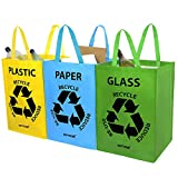 AMOS 3 x Recycling Recycle Bags 53L Colour Coded with Handles for Plastic Glass Paper Waste Rubbish Trash Reusable Storage Bin Bags