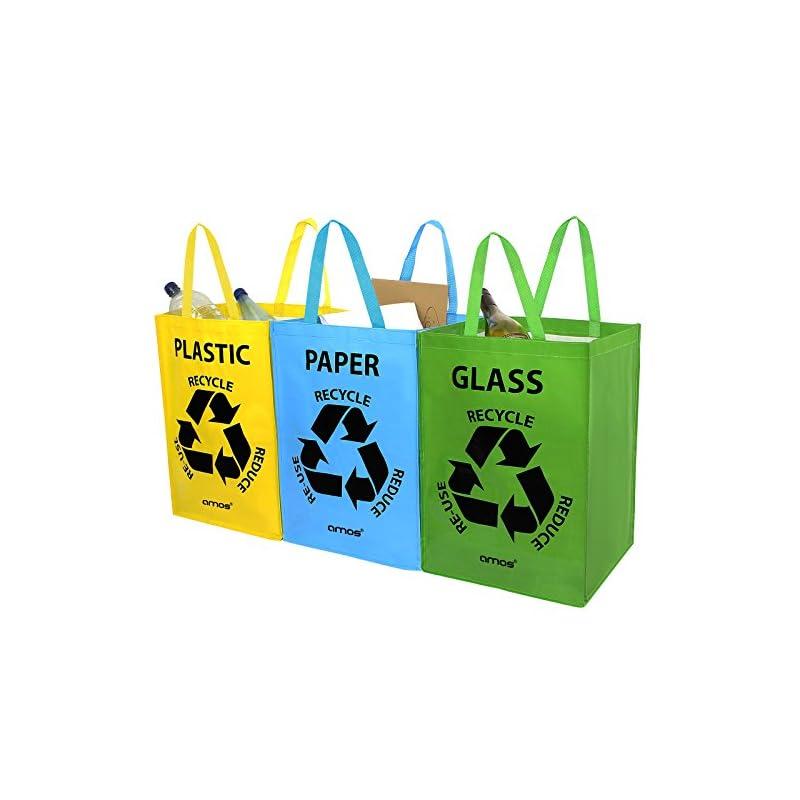 Amos 3er Set Wiederverwendbare 53l Taschen Mit Transportgriffen Fr Recycling Mlltrennsystem Abfalltrenner Fr Sortieren Von Glas Plastik Papier