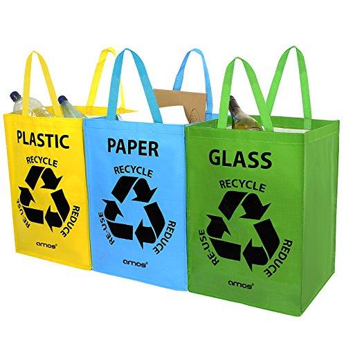 *AMOS 3er Set Wiederverwendbare 53L Taschen mit Transportgriffen für Recycling Mülltrennsystem Abfalltrenner für Sortieren von Glas Plastik Papier*