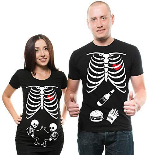 Silk Road Tees Frauen-Zwillinge für Schwangere Paare Passendes T-Shirt Halloween-Skelett-Kostüm für Paare Dad Schwangerschafts-T-Shirt Lustige T-Stücke Men Large - Women Small Schwarz
