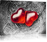 zwei Herzen in kleinem Nest schwarz/weiß Format: 120x80 auf Leinwand, XXL riesige Bilder fertig gerahmt mit Keilrahmen, Kunstdruck auf Wandbild mit Rahmen, günstiger als Gemälde oder Ölbild, kein Poster oder Plakat