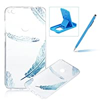 For Huawei P8 Lite 2017/Honor 8 Lite Case,For Huawei P8 Lite 2017/Honor 8 Lite Cover,Herzzer Ultra Slim Fashion [Blue Feather Pattern] Clear Crystal Soft Silicone Gel Bumper Cover Flexible TPU Transparent Skin Protective Case for Huawei P8 Lite 2017/Honor 8 Lite + 1 x Free Blue Cellphone Kickstand +