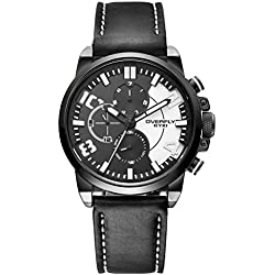 Alienwork Quartz Watch Multi-function Wristwatch sport Moderne Leather black black YH.EOV3061L-01