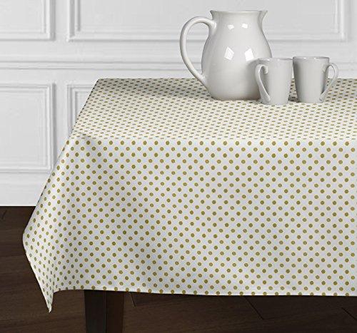 A LuxeHome weiß und Metallic Gold Modernes Polka Dot Tischdecken Esszimmer Küche Rechteck länglichen 152,4x 259,1cm (Dot Polka Tischläufer)