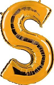 Grabo 382G-P Letra S Globo Superloon paquete individual, largo-40 pulgadas, color, oro, talla única