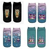 LegendsChan Eule Katze Ausländer Tier Damen Mädchen Cartoon Einhorn Socken Weich Elastisch Sport Socken Strümpfe Füßlinge Bunt Motiv (4 pair-A)