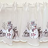 Scheibengardine 30 x 150 cm WEIHNACHTEN Winter Schneemann mit Reh Gestickt Bistrogardine Weihnachtsgardine (30x150 cm)