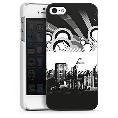 Apple iPhone 5s Housse Étui Protection Coque Ville Étoiles Ville CasDur blanc