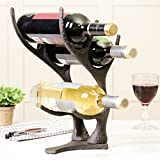Stylish Antique Brown Cast Iron Sculptured Stags Antlers Three Bottle Wine Rack Holder Featuring A Weighted Base. Perfect Unique Addition To Any Kitchen To Store Your WInes Or Gift Idea To A WIne Connoisseiur Which They Are Sure To Enjoy For Years To Come. Overall H35cm x W18cm / Base 18x13cm