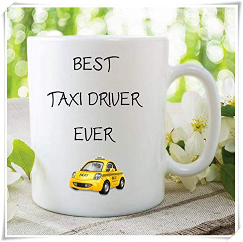 JOJOLASQ Best Taxi Driver Ever Taxi Mugs, Boyfriend Girlfriend Gifts, Birthday Present, Christmas Gifts, Taxi Driver Cup, 11oz Ceramic Coffee Mug, Unique Gift