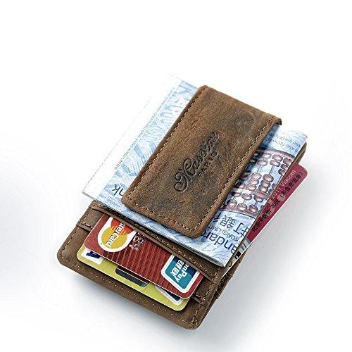 Teemzone echtes Leder Geld Clip Vordertasche Wallet mit Magnet Clip ID Card Fall braun - Clip Geld Holder Card Magnet