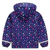 Kinder Mädchen Kapuzenjacke Warme Gefütterte Übergangsjacke Wasserdicht Stern Druck Regenjacke Outdoorjacke Wanderjacke 134/140