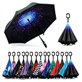 #10: Home Buy Double Layer Inverted Reversible No Drip Umbrella with C shape Handle - Multi Color