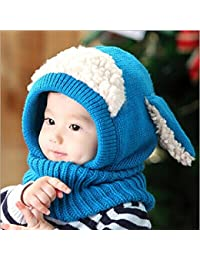 0f93c90420fe BZLine® Style Mignon Bébé Fille Garçon Tour de Cou Bonnet d automne-Hiver  en Laine Tricotée Forme d un Mouton, Taille pour Bébé 6…