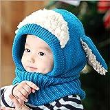 BZLine® Style Mignon Bébé Fille Garçon Tour de Cou / Bonnet d'Automne-Hiver en Laine Tricotée / Forme d'un Mouton, Taille pour Bébé 6-36Mois, Bleu
