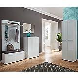 Garderobe 5-teilig ● Weiß mit Glasfronten ● Garderobenset: Schuhschrank, Schuhbank, Spiegel, Garderobenpaneel, Garderobenschrank ● Made in Germany