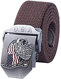 7bea54dc47bbd Menschwear Mens Adjustable Cotton Canvas Belt Metal Buckle Military Style  52