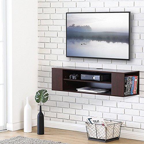 Fitueyes TV Board Lowboard Hängeschrank Wohnwand Mediawand 100x30x26cm holz schwarz DS210001WBUK