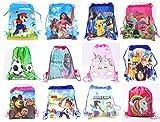 Jiada Return Gifts Set of Cartoon Printed Kids Haversack Bags (Pack of 12)